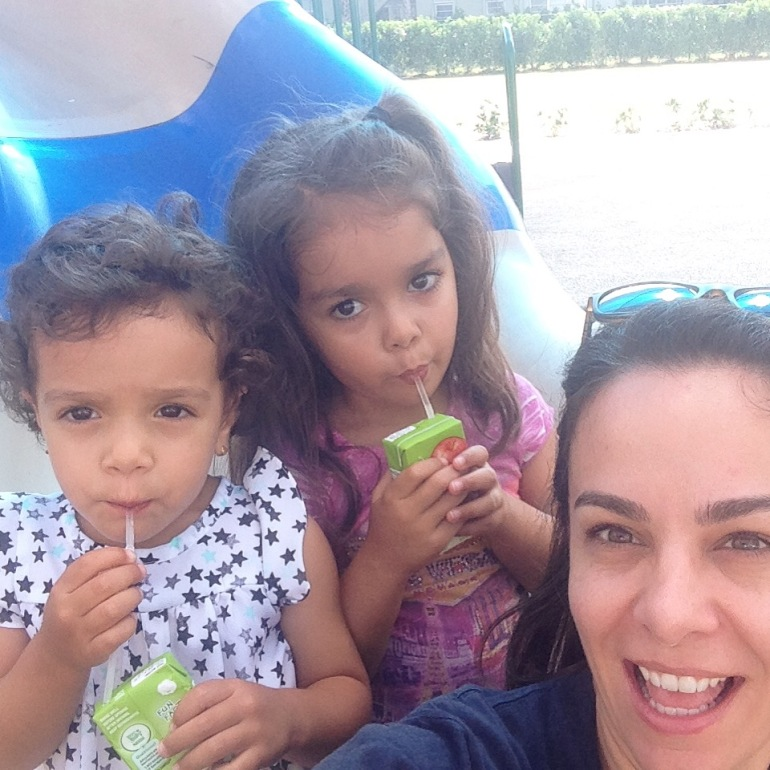 Gotta stay hydrated at the park! Juice box break :)
